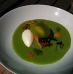 Pan seared salmon green garlic pea soup Creme Fraiche sherbet